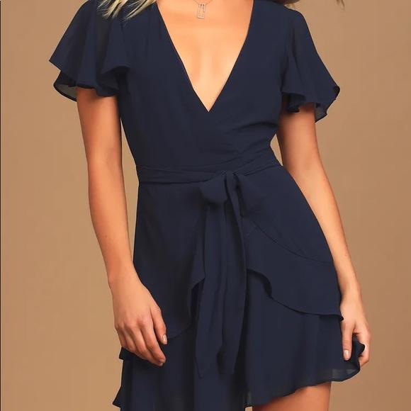 LuLu's Sweet Like You Navy Ruffled Mini Dress | size Large | color Navy